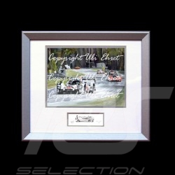 Porsche 919 winner Le Mans 2015 n°19 wood frame aluminum with black and white sketch Limited edition Uli Ehret - 551