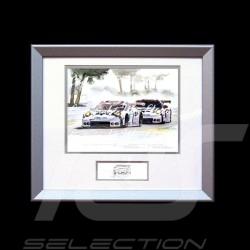Duo Porsche 911 typ 991 RSR Le Mans Arnage Aluminium Rahmen mit Schwarz-Weiß Skizze Limitierte Auflage Uli Ehret - 556