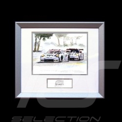 Duo Porsche 911 type 991 RSR Le Mans Arnage wood frame aluminum with black and white sketch Limited edition Uli Ehret - 556