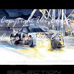 Porsche 911 typ 991 RSR n° 77 Nacht rennen Aluminium Rahmen mit Schwarz-Weiß Skizze Limitierte Auflage Uli Ehret - 444