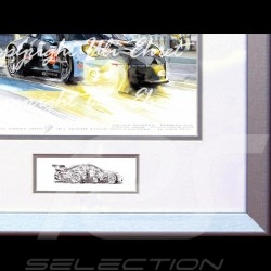 Porsche 911 type 991 RSR n° 77 night racing wood frame aluminum with black and white sketch Limited edition Uli Ehret - 444