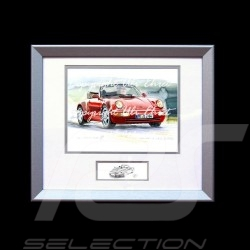 Porsche Poster 911 type 964 Turbo Cabrio red wood frame aluminum with black and white sketch Limited edition Uli Ehret - 599