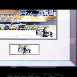 Porsche 911 typ 991 RSR n° 77 Nacht rennen Aluminium Rahmen mit Schwarz-Weiß Skizze Limitierte Auflage Uli Ehret - 558