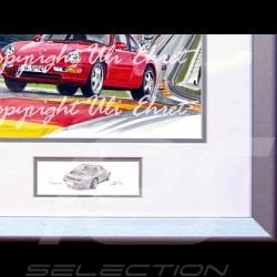 Porsche 911 type 993 Spa rouge cadre bois alu avec esquisse noir et blanc Edition limitée Uli Ehret - 650