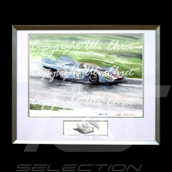 Porsche 917 K Gulf n° 20 in rain aluminum frame with black and white sketch Limited edition Uli Ehret - 27