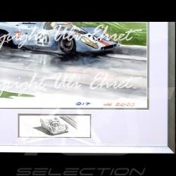 Porsche 917 K Gulf n° 20 in rain aluminum frame with black and white sketch Limited edition Uli Ehret - 27