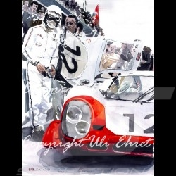 Porsche 917 LH n° 12 1969 white red with pilot aluminum frame with black and white sketch Limited edition Uli Ehret - 27