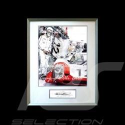 Porsche 917 LH n° 12 1969 weiß und rot mit Fahrer Aluminium Rahmen mit Schwarz-Weiß Skizze Limitierte Auflage Uli Ehret - 27