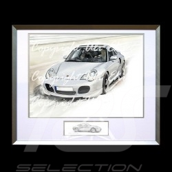 Porsche 911 type 996 Turbo blanche cadre alu avec esquisse noir et blanc Edition limitée Uli Ehret - 104B