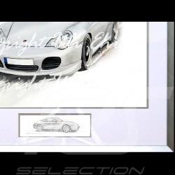 Porsche 911 type 996 Turbo weiß Aluminium Rahmen mit Schwarz-Weiß Skizze Limitierte Auflage Uli Ehret - 104B