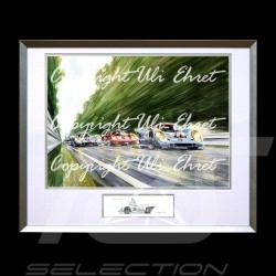 Porsche 917 K Gulf n° 21 and 22 at full speed aluminum frame with black and white sketch Limited edition Uli Ehret - 111