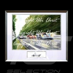 Porsche 917 K Gulf n° 21 und 22 voller Geschwindigkeit Alu Rahmen mit Schwarz-Weiß Skizze Limitierte Auflage Uli Ehret - 111