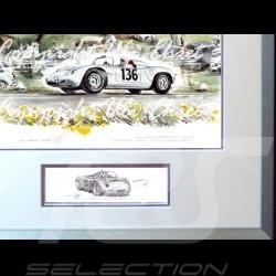 Porsche Poster 718 RS 61 Targa Florio n° 136 große Aluminium Rahmen mit Schwarz-Weiß Skizze Limitierte Auflage Uli Ehret - 357