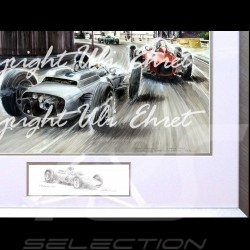 Porsche 804 Monaco 1962 n° 4 Dan Gurney big aluminum frame with black and white sketch Limited edition Uli Ehret - 364