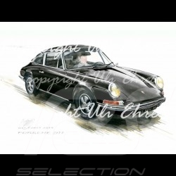 Porsche 911 Classic black big aluminum frame with black and white sketch Limited edition Uli Ehret - 527