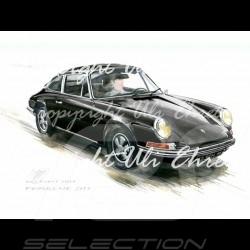 Porsche 911 Klassische schwarz große Aluminium Rahmen mit Schwarz-Weiß Skizze Limitierte Auflage Uli Ehret - 527