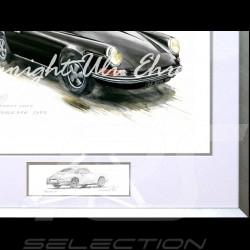 Porsche 911 Classique noire grand cadre aluminium avec esquisse noir et blanc Edition limitée Uli Ehret - 527