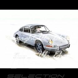 Porsche 911 Klassische grau große Aluminium Rahmen mit Schwarz-Weiß Skizze Limitierte Auflage Uli Ehret - 527
