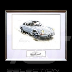 Porsche 911 Classic grey big aluminum frame with black and white sketch Limited edition Uli Ehret - 527