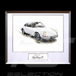 Porsche 911 Classique blanche grand cadre aluminium avec esquisse noir et blanc Edition limitée Uli Ehret - 527
