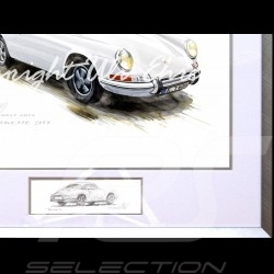 Porsche 911 Classic white big aluminum frame with black and white sketch Limited edition Uli Ehret - 527