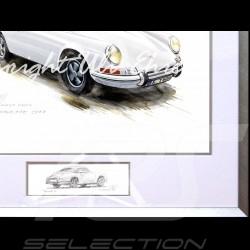 Porsche 911 Klassische weiß große Aluminium Rahmen mit Schwarz-Weiß Skizze Limitierte Auflage Uli Ehret - 527
