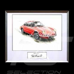 Porsche 911 Classic red big aluminum frame with black and white sketch Limited edition Uli Ehret - 527