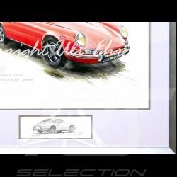 Porsche 911 Klassische rot große Aluminium Rahmen mit Schwarz-Weiß Skizze Limitierte Auflage Uli Ehret - 527