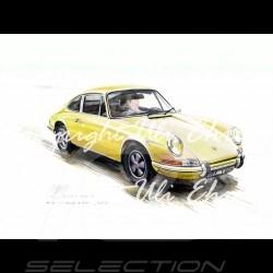 Porsche 911 Classique jaune grand cadre aluminium avec esquisse noir et blanc Edition limitée Uli Ehret - 527