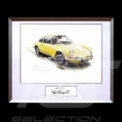 Porsche 911 Klassische gelb große Aluminium Rahmen mit Schwarz-Weiß Skizze Limitierte Auflage Uli Ehret - 527