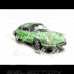 Porsche 911 Classique verte grand cadre aluminium avec esquisse noir et blanc Edition limitée Uli Ehret - 527