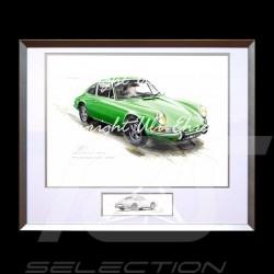 Porsche 911 Klassische grün große Aluminium Rahmen mit Schwarz-Weiß Skizze Limitierte Auflage Uli Ehret - 527