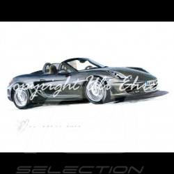 Porsche Boxster 981 schwarz große Aluminium Rahmen mit Schwarz-Weiß Skizze Limitierte Auflage Uli Ehret - 545