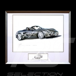 Porsche Boxter 981 black big aluminum frame with black and white sketch Limited edition Uli Ehret - 545
