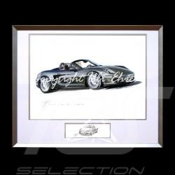 Porsche Boxter 981 schwarz große Aluminium Rahmen mit Schwarz-Weiß Skizze Limitierte Auflage Uli Ehret - 545