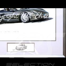 Porsche Boxster 981 noir cadre aluminium avec esquisse noir et blanc Edition limitée Uli Ehret - 545