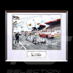 Porsche 919 n°19 Sieg Le Mans 2015 große Aluminium Rahmen mit Schwarz-Weiß Skizze Limitierte Auflage Uli Ehret - 566