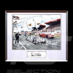 Porsche 919 n°19 victoire Le Mans 2015 grand cadre aluminium avec esquisse noir et blanc Edition limitée Uli Ehret - 566