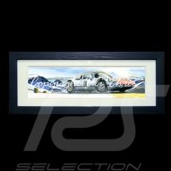 Porsche Poster 904 GTS am Berg schwarz Holzrahmen mit Schwarz-Weiß Skizze Limitierte Auflage Uli Ehret - 591