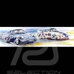 Porsche 911 type 964 Duo route / course cadre bois noir avec esquisse noir et blanc Edition limitée Uli Ehret - 602