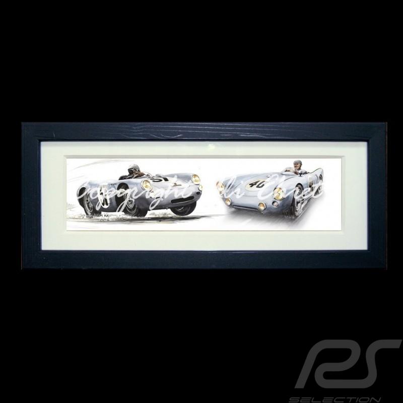 Porsche Poster 550 Duo n° 37 und n° 40 schwarz Holzrahmen mit Schwarz-Weiß Skizze Limitierte Auflage Uli Ehret - 113