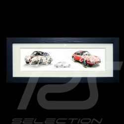 Porsche 550 Duo n° 37 and n° 40 wood frame black with black and white sketch Limited edition Uli Ehret - 113