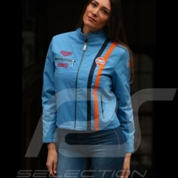 Jacke Gulf Steve Mc Queen Le Mans Baumwolle cobalt blau - Damen