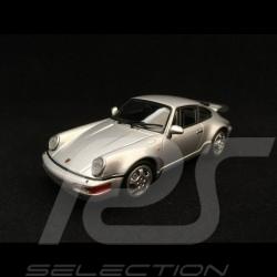 Porsche 911 type 964 Turbo silver grey 1/43 Minichamps 943069103