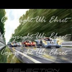 Porsche 917 K Gulf n° 21 et 22 en pleine vitesse Edition limitée Uli Ehret - 111 sur toile canvas leinwand