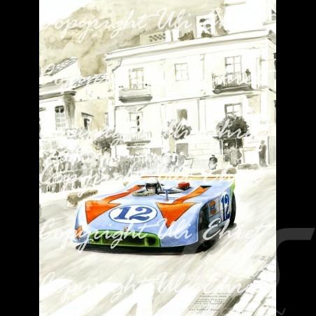 Porsche Poster 908 /03 winner Targa Florio 1970 n° 12 on canvas limited edition signed by Uli Ehret - 371