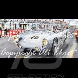 Porsche 550 Le Mans 1954 n° 40 von Frankenberg Edition limitée Uli Ehret - 134 - sur toile canvas Leinwand