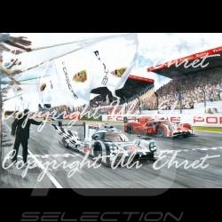 Porsche 919 n°19 victoire Le Mans 2015 Edition limitée Uli Ehret - 566 - sur toile canvas Leinwand