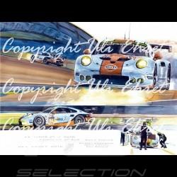 Porsche 911 type 991 RSR n° 77 en course de nuit Edition limitée Uli Ehret - 558 - sur toile canvas Leinwand