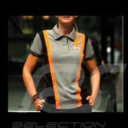 Polo Gulf Racing Team gris et orange - femme women Damen